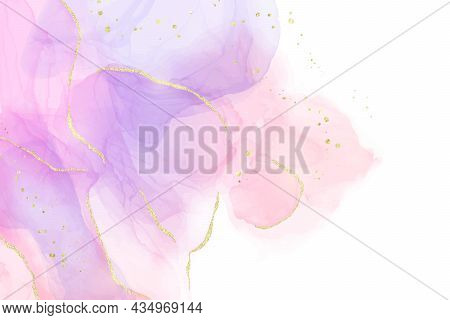 Purple Rose And Lavender Liquid Marble Background With Gold Stripes And Glitter Dust. Pastel Pink Vi