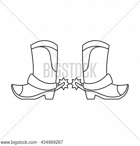 Cowboy Boot Vector Icon.outline Vector Icon Isolated On White Background Cowboy Boot.