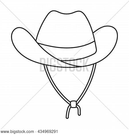 Hat Cowboy Vector Icon.outline Vector Icon Isolated On White Background Hat Cowboy.