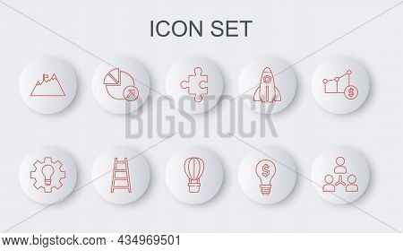 Set Line Project Team Base, Light Bulb And Gear, Piece Of Puzzle, With Dollar, Mountains Flag, Finan