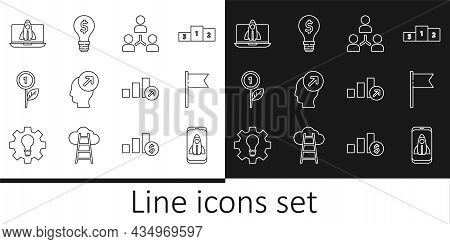 Set Line Startup Project Concept, Location Marker, Project Team Base, Head Hunting, Dollar Plant, Fi
