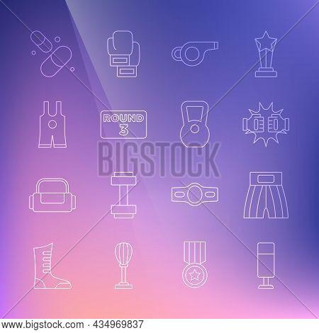 Set Line Punching Bag, Boxing Short, Boxing Gloves, Whistle, Ring Board, Wrestling Singlet, Vitamin