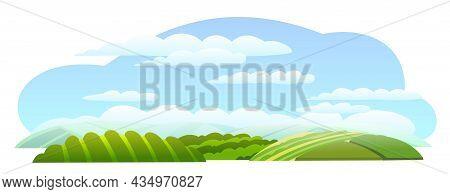 Rural Hills. Farm Cute Landscape. Summer Day. Funny Cartoon Design Illustration. Flat Style. Isolate