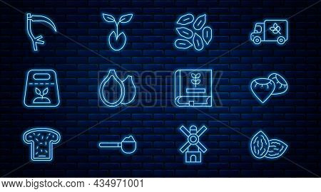 Set Line Seed, Pumpkin Seeds, Pack Full Of Of Plant, Scythe, Book About And Sprout Icon. Vector