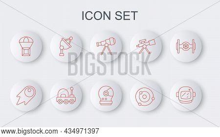 Set Line Astronaut Helmet, Comet Falling Down Fast, Telescope, Solar System, Box Flying Parachute, S