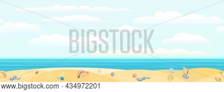 Frontal View Of The Seashore. Yellow Sandy Beach. Soft Sky With Light Clouds. Distant Horizon. Shell