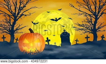 Halloween Night Background, Scary Cemetery And Full Moon, Vector Banner
