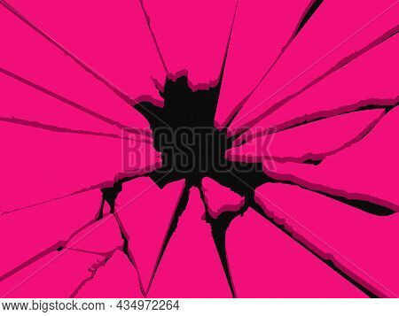 Hole In The Wall, Cracked Hole, Vector Illustration