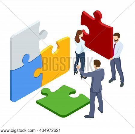 Isometric Teamwork With Puzzle, Teamwork, Cooperation, Partnership Concept. Collaboration, Unity As