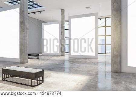 Clean Concrete Gallery Interior With Windows And City View, Daylight, Empty Posters And Shadows. Exh