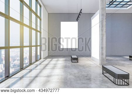 Contemporary Concrete Gallery Interior With Windows And City View, Daylight, Empty Posters And Shado