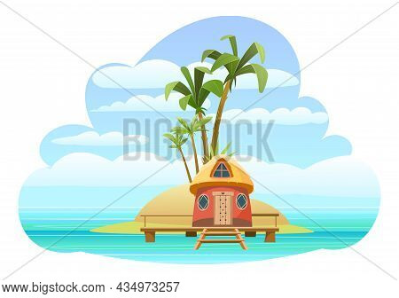 Bungalow On The Island. In Light Calm Sea. Summer Seascape. Beach Hut By The Ocean. Isolated On Whit