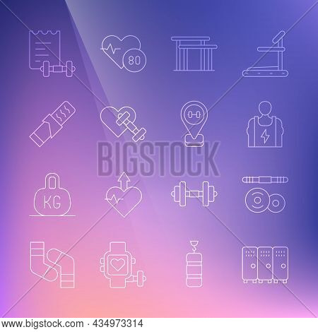 Set Line Locker Or Changing Room, Barbell, Bodybuilder, Uneven Bars, Dumbbell With Heart, Protein Sp