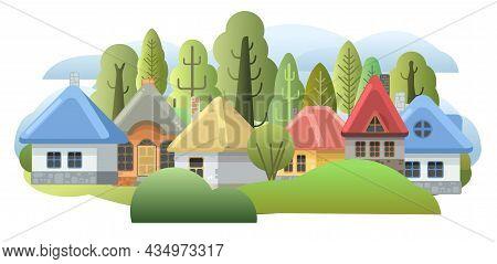 Country Suburban Village. Funny Cartoon Style. Farm Hut In The Garden. Fairy Tale Illustration For C
