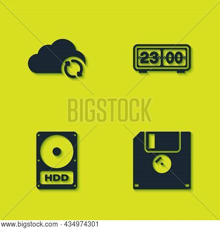 Set Cloud Sync Refresh, Floppy Disk, Hard Drive Hdd And Retro Flip Clock Icon. Vector