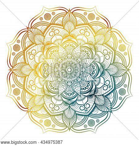 Round Gradient Mandala On White Isolated Background. Beautiful Round Pattern. Vintage Decorative Ele