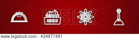 Set Manicure Lamp, Bottle Of Nail Polish, False Nails And Milling Cutter For Manicure Icon. Vector