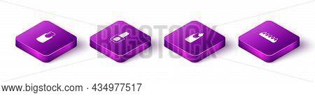 Set Isometric Nail Manicure, Bottle Of Nail Polish, Manicure And False Nails Icon. Vector