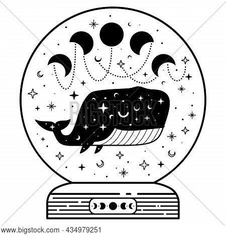 Mystic Magic Ball With Celestial Whale And Moon Phases