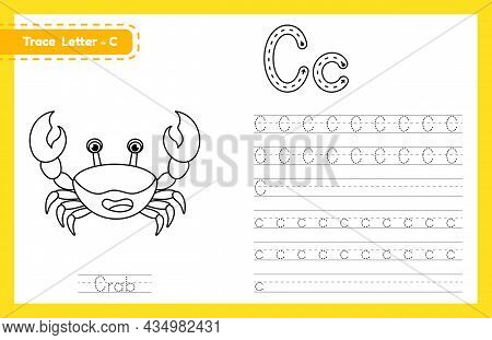 Trace Letter C Uppercase And Lowercase. Alphabet Tracing Practice Preschool Worksheet For Kids Learn