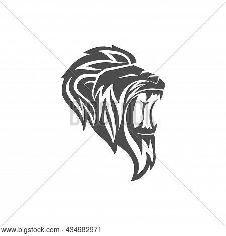 Lion Head Roar Mascot Emblem Business Brand Template