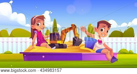 Children Playing In Sand Box, Little Boy And Girl Sitting In Sandbox With Toys Playing With Excavato