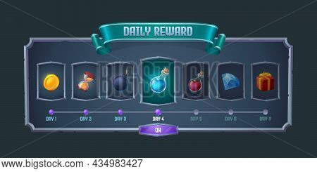 Daily Reward Frame With Item Icons For Game Gui Design. Vector Cartoon Illustration Of Prizes For Ev