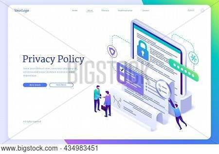 Privacy Policy Isometric Landing Page, Data Protection, Digital Security, Personal Confidential Info