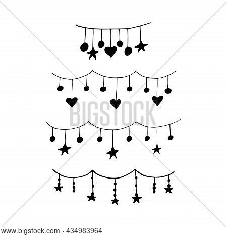 Garlands With Stars And Hearts Set Hand Drawn Doodle. Vector, Minimalism, Monochrome. Collection Of
