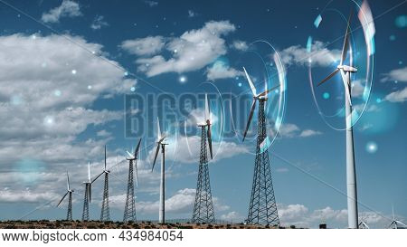 Wind energy with wind turbines background