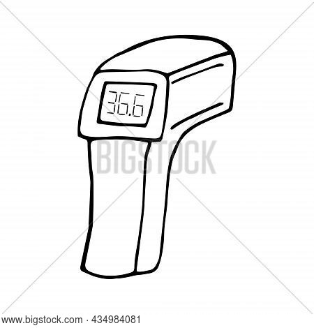 Non-contact Medical Thermometer Hand Drawn Doodle. Vector, Scandinavian, Nordic, Minimalism, Monochr