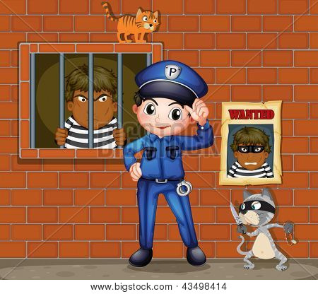 Illustration of a policeman in front of a jail with two cats