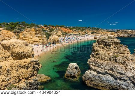 Aerial panoramic view of amazing Praia dos Paradinha beach, Albufeira, Algarve, Portugal
