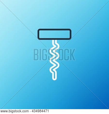 Line Wine Corkscrew Icon Isolated On Blue Background. Colorful Outline Concept. Vector