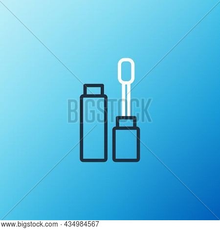 Line Mascara Brush Icon Isolated On Blue Background. Colorful Outline Concept. Vector