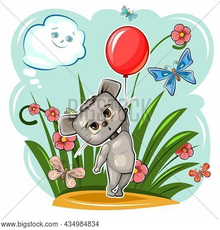 Funny Cute Mouse Takes Off With A Red Balloon. Summer Meadow With Flowers And Butterflies. Funny Bab