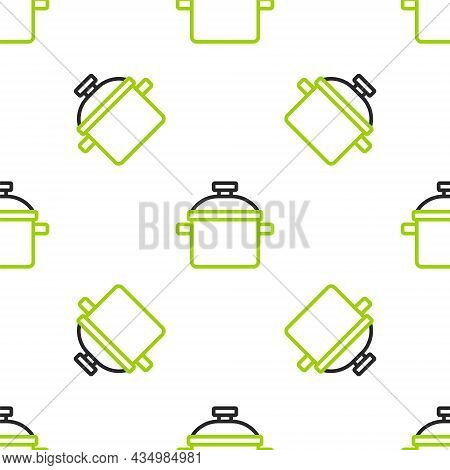 Line Cooking Pot Icon Isolated Seamless Pattern On White Background. Boil Or Stew Food Symbol. Vecto