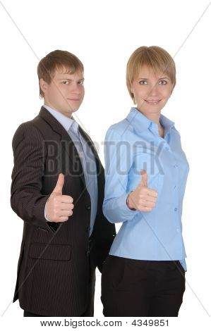 Businessman And Businesswoman With Thumbs Up On An Isolated White Background
