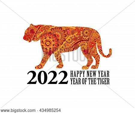Chinese New Year 2022 Festive Vector Card. Design With Tigers, Zodiac Symbol Of 2022 Year. Lettering