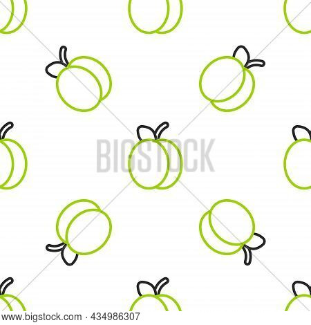 Line Plum Fruit Icon Isolated Seamless Pattern On White Background. Vector