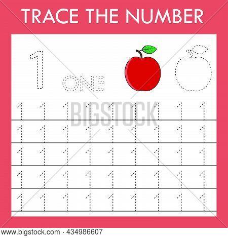Tracing Lnumber  Game With  Apple.  Worksheet For Preschool Kids, Kids Activity Sheet, Printable Wor