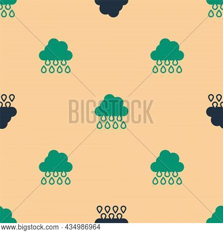 Green And Black Cloud With Rain Icon Isolated Seamless Pattern On Beige Background. Rain Cloud Preci