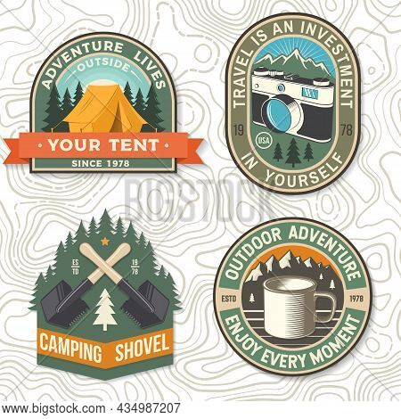 Set Of Travel Inspirational Quotes Vector Patch Or Sticker. Concept For Shirt Or Logo, Print, Stamp.