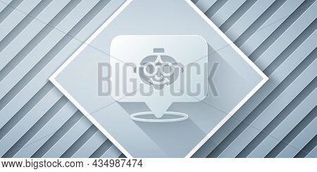 Paper Cut Grandmother Icon Isolated On Grey Background. Paper Art Style. Vector