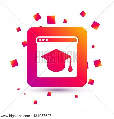 White Online Education And Graduation Icon Isolated On White Background. Online Teacher On Monitor.
