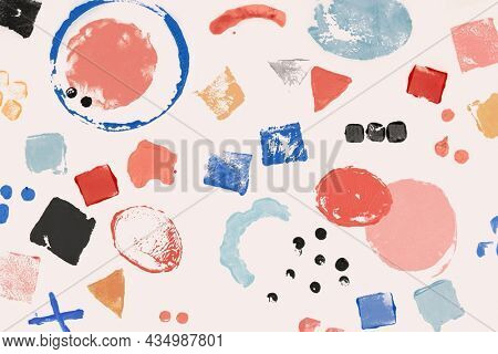 Colorful block print background pattern with geometric shapes