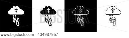Set Gods Helping Hand Icon Isolated On Black And White Background. Religion, Bible, Christianity Con