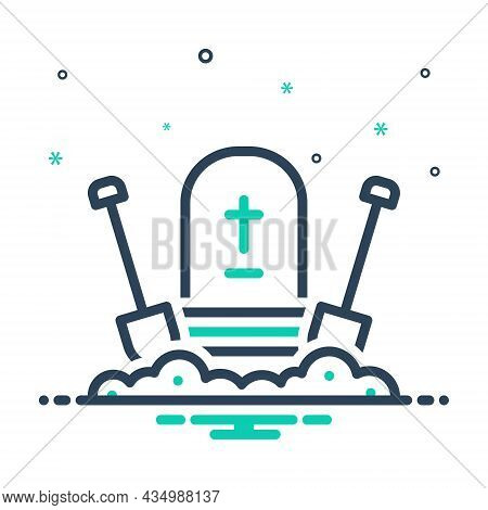 Mix Icon For Bury Entomb Cemetery Christianity Gravestone Halloween Corpse Dig Shovel Graveyard Fune