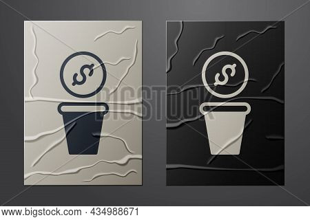 White Donation Money Icon Isolated On Crumpled Paper Background. Hand Give Money As Donation Symbol.