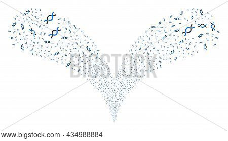Dna Helix Twice Fireworks Explosion. Dna Helix Explosion Double Fountain. Object Fountain Is Made Fr